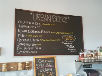 The beer list at Urban Comfort Brewery in St. Peresburg, Florida