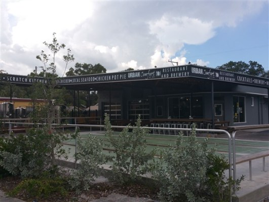 The building exterior of Urban Comfort Brewery in St. Pete, Florida