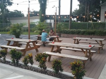 The patio at 7venth Sun Brewery in Tampa, Florida