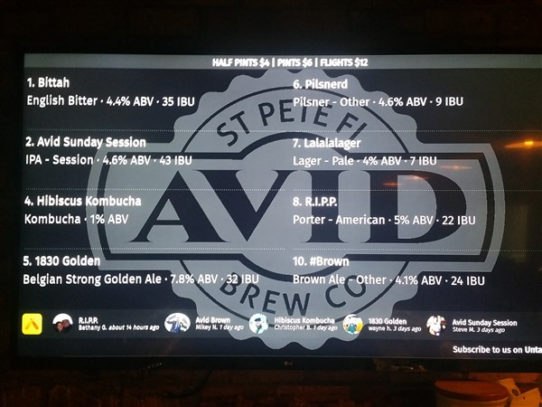 The tap list at Avid Brew Company in St. Pete, FL