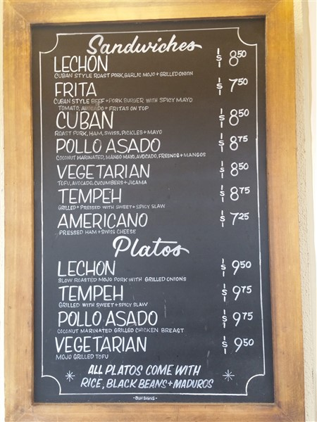 Cuban food menu at Bodega on Central Avenue in St. Petersburg, FL