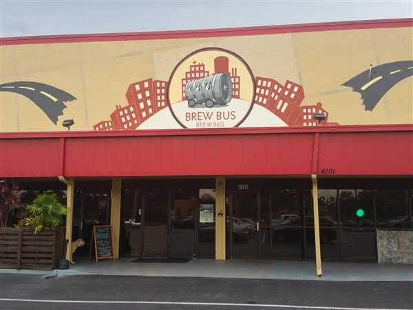The front entrance for Brew Bus Brewing in Tampa, Florida