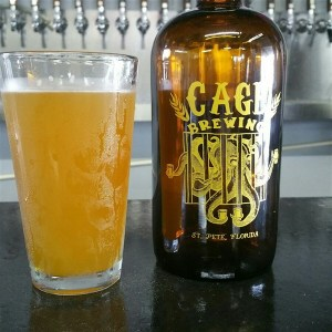 A growler and oint of Mango Bob's American IPA at Cage Brewing in St. Pete, FL