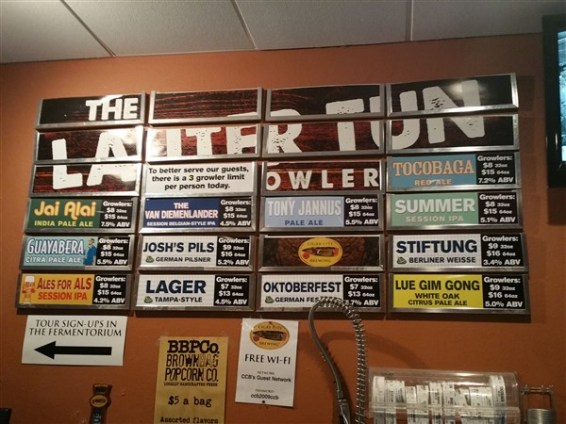 Beer list for growlers to go at Cigar City Brewing in Tampa
