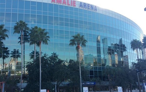 View of Amalie Arena from Ferg's Live in Downtown Tampa