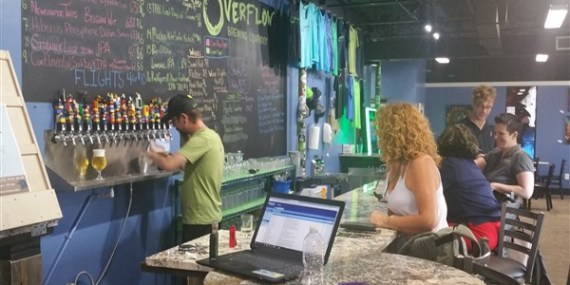 Bar area at Overflow Brewing Company in St. Petersburg, Florida