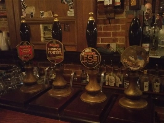 The cask conditioned real ales from Fuller's Brewery at The Dirty Shame in Centro Ybor in Tampa, Florida