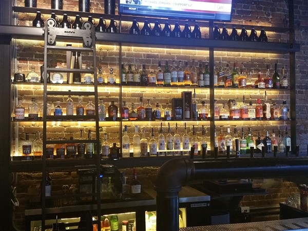 The whiskey selection at Zydeco Brew Werks in Centro Ybor in Tampa