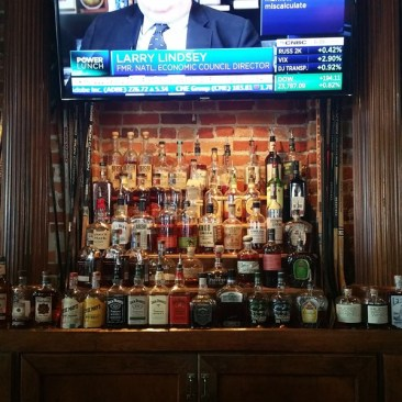 The whiskey and bourbon selection at Hattricks restaurant bar near Amalie Arena in Tampa