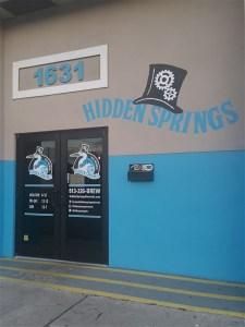 The entrance to Hidden Springs Ale Works in Tampa, Florida