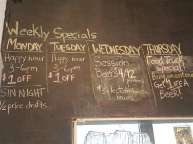 Daily specials at Rapp Brewing Company in Tampa Bay