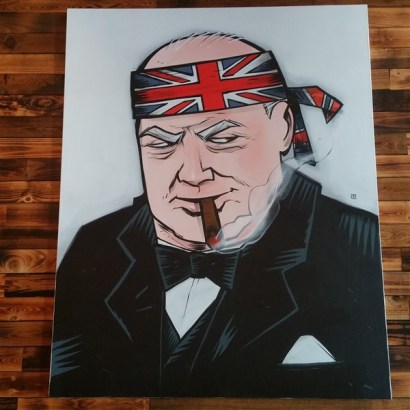 A painted portrait of Winston Churchill hanging at Yeoman's Cask and Lion in Downtown Tampa
