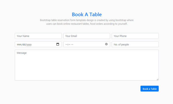 When booking a trip, it can be difficult to spot which tours and experiences will be worth the time. Bootstrap Table Reservation Form Template Design Markuptag