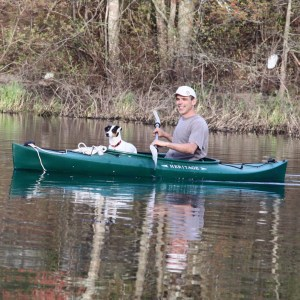 Mark and Ollie in Kayak