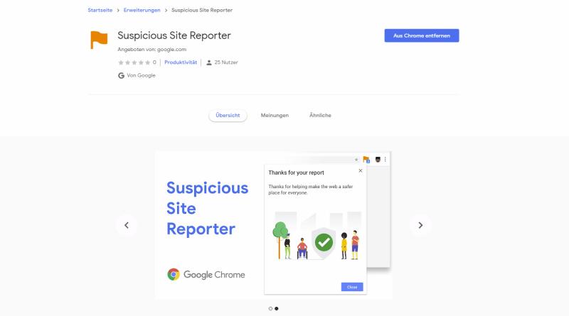 Google Suspicious Site Reporter