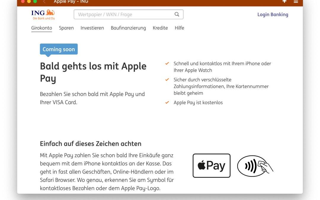 Apple Pay: Auch die ING ist bald dabei