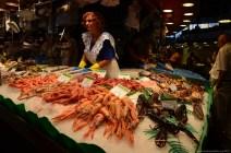 Fischhändler im Mercado de La Boqueria, Barcelona