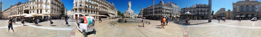 Panorama auf dem Place de la Comédie, Montpellier, Frankreich