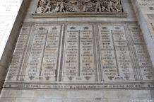 Namen auf dem westlichen Pfeiler des Arc de Triomphe Paris