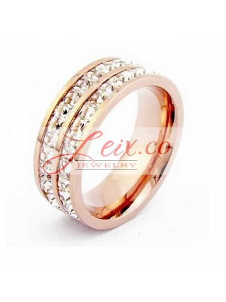 Cartier 2 Row Wedding Band Ring in 18K Pink Gold Pave Diamonds