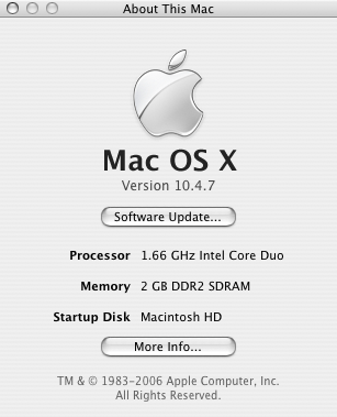 Mac with 2GB RAM installed