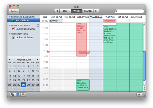 Multiple calendars in Apple iCal