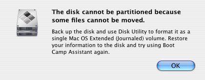 The disk cannot be partitioned because some files cannot be moved.  Backup the disk and use Disk Utility to format as a single Mac OS Extended (Journaled) volume.  Restore your information to the disk and try using Boot Camp Assistant again.