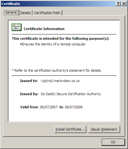 SSL certificate from Go Daddy