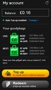 Giffgaff account details