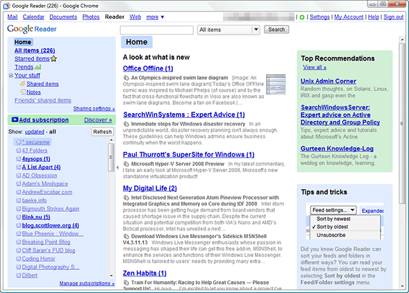 Google Reader in a Chrome/Gears application