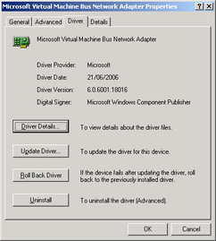 Device driver dialog for RTM Version of a Hyper-V synthetic device
