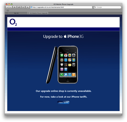 Image showing the O2 iPhone upgrade website whilst unavailable