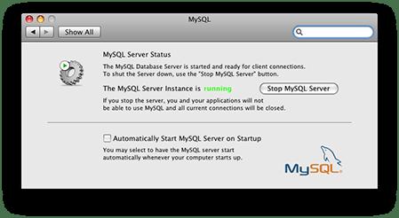 MySQL running in OS X