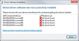 Nokia Lumia 800 driver installation fails on Windows 7