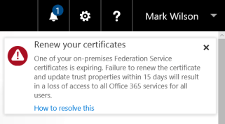 Office 365 - Renew your certificates