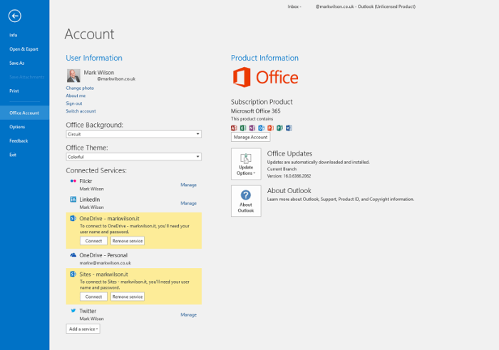 Disconnected from Office 365 services