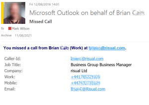 Outlook missed call notification (redacted)
