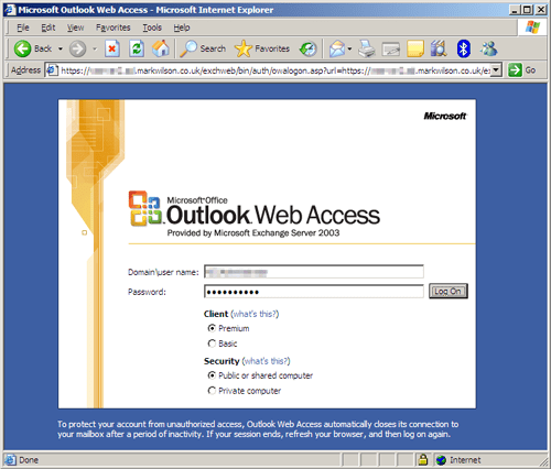 OWA authentication via HTTPS