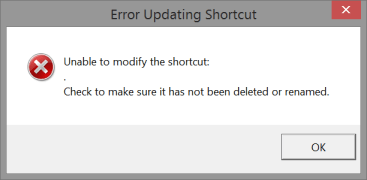Windows PowerShell - error updating shortcut