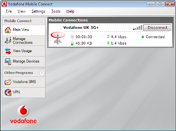 Screenshot of Vodafone Mobile Connect v9.2.1.6545 with a working (but weak) 3G connection