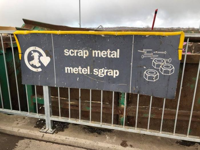 Welsh scrap metal sign