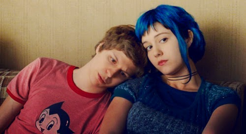 Scott (Michael Cera) et Ramona (Mary Elizabeth Winstead) dans Scott Pilgrim d'Edgar Wright (2010)