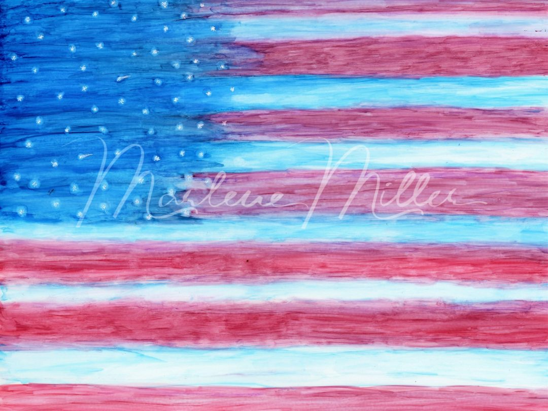 """""""Freedom Flag"""" alcohol ink painting"""