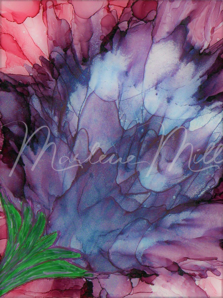 """""""Bloomin' Artichoke"""" alcohol ink painting"""
