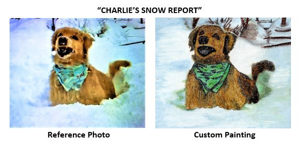 """""""Charlie's Snow Report"""" alcohol ink painting"""