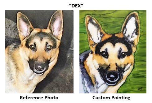 "Pet Portrait painting of ""Dex"" in alcohol inks."