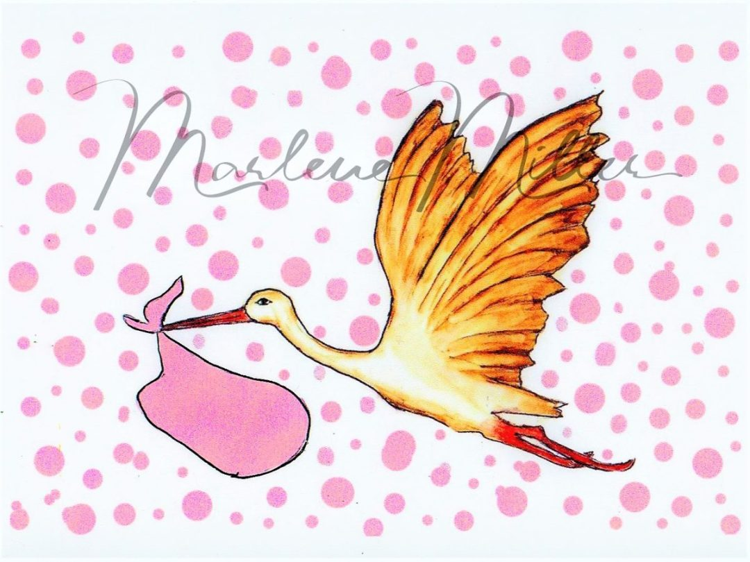 """""""It's a Girl! Stork"""" alcohol ink painting"""