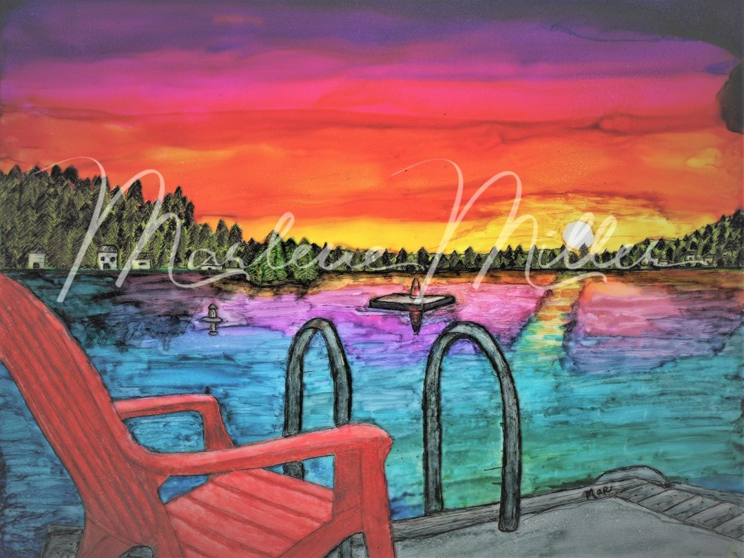 """""""Loon Lake Sunset"""" alcohol ink painting"""