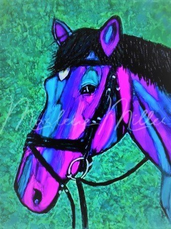 """Pet Portrait painting of """"Lucander"""" in alcohol inks."""