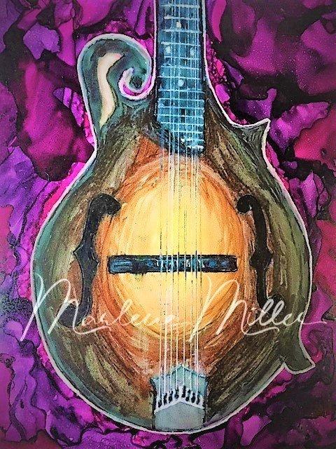 """Mandolin"" alcohol ink painting"